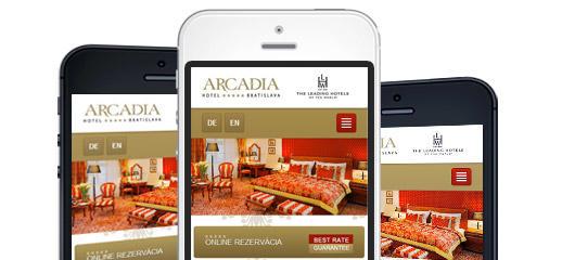 Mobilná verzia webstránky Hotela ARCADIA*****