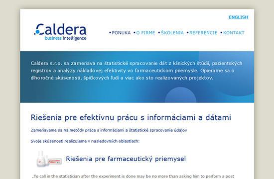 Redizajn web stránky pre spoločnosť Caldera s.r.o.