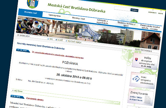 Dúbravka.sk - najlepšia bezbariérová stránka samospráv