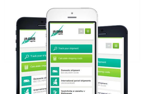 Mobilná verzia webu intime.sk pre spoločnosť IN TIME