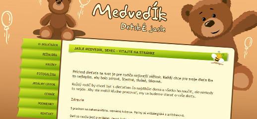Webová stránka pre detské jasle Medvedík