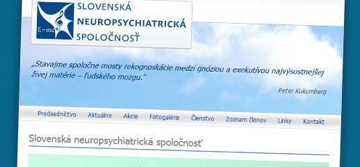 Web stránka pre Slovenskú neuropsychiatrickú spoločnosť