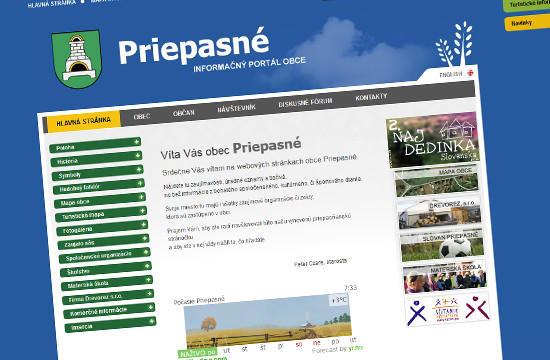 Prístupná obecná webstránka pre obec Priepasné