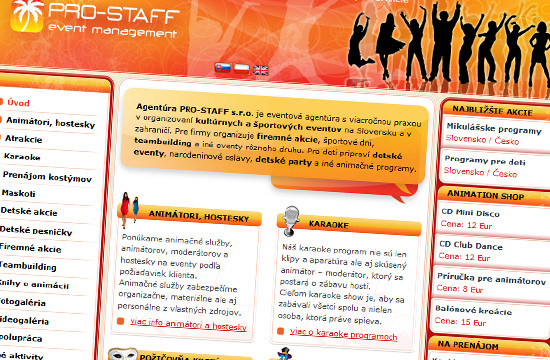 Nová webstránka PRO-STAFF event management