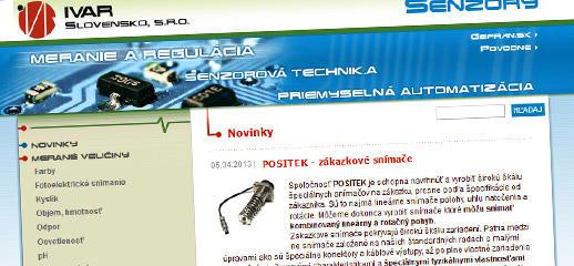 Redesign web stránky pre IVAR Slovensko - senzory.sk