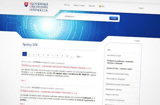 Slovenská obchodná inšpekcia - redizajn web stránky