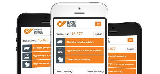Mobilná verzia webstránky Slovak Parcel Service