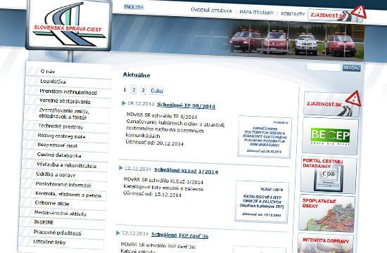 Slovenská správa ciest má novú web stránku