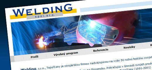 Redesign web stránky Welding, spol. s r.o.